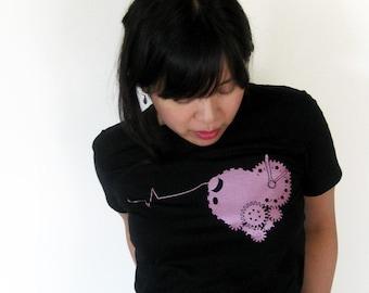 Clockwork Heart Womens Tshirt, Love Tshirt for Women, Steampunk Tshirt, Steampunk Clothing Women, Heart Shirts for Women, Girlfriend Gift