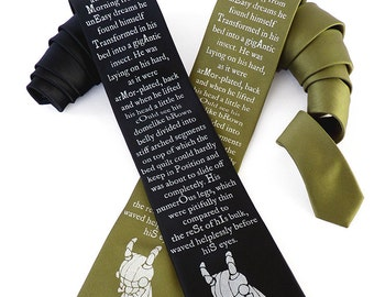 Franz Kafka Necktie, Literary Gift, English Teacher Gift, Surreal Necktie, Insect Tie, Mens Necktie, Bookworm Gifts - The Metamorphosis Tie