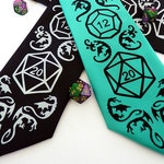 Dice and Dragons Necktie, DnD, RPG, D20 Dice, Dragon Men's Tie, Geek Tie, Mens Necktie, Gamer Gift, Gifts for Men - High Roller Necktie
