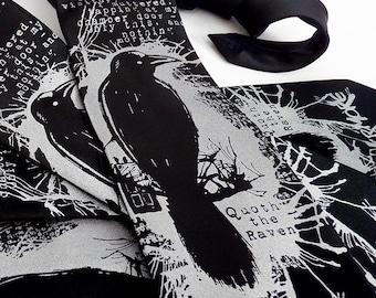 Edgar Allan Poe Raven Necktie, Father's Day Gift, Book Lover Gift, Bookworm Gifts, Literary Gifts, Mens Necktie - Nevermore Raven Necktie