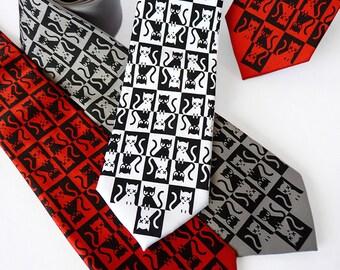 Schrodinger's Cat Necktie, Science Tie, Geek Necktie, Science Gift, Clothing Gift, Cat Lover Gift, Quantum Physics, Science Teacher Gift