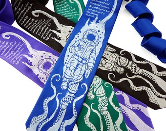 Book Lover Gift, Geek Tie, Octopus Necktie, Neckties for Men, Father's Day Gift, Dad Gift, Literary Gift, 20,000 Leagues Under The Sea Tie