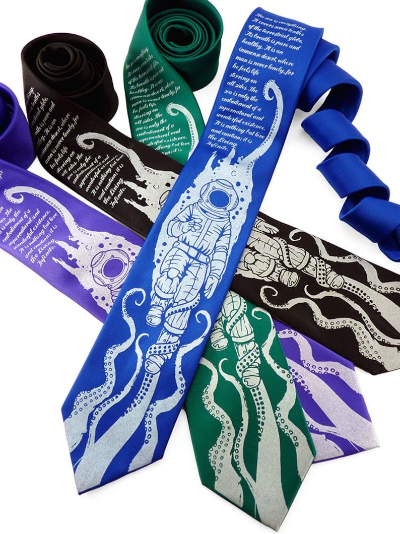 Book Lover Gift Geek Tie Octopus Necktie Fathers Day Gift image 0
