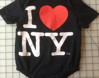 Upcycled I Heart NY Tee Turned Into A 6 to 12 Month Baby Onesie
