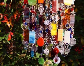 Unique Wind Chimes - Suncatcher - OOAK Gift For Everyone, Anniversary, Birthday, Wedding, Housewarming, Jardin de fleurs
