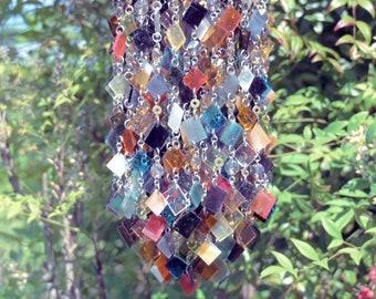 Unique Suncatcher - Glass Wind Chimes - Kaleidoscope - OOAK Gift For Her, Anniversary, Birthday, Wedding, Housewarming, Rhapsodie bohémienne