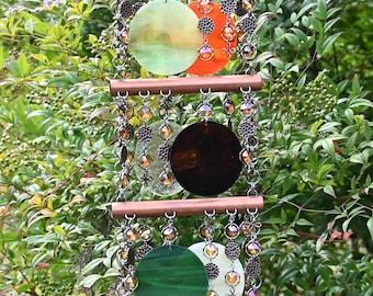 Unique Suncatcher - Kaleidoscope - Glass Circle Suncatcher - OOAK Gift Anniversary, Birthday, Wedding, Housewarming, Autumn Splendor II