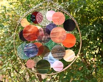 18 7/8 Inch Round Glass & Copper Suncatcher, Birthday, Housewarming, Wedding, Boho Decor, Bulles d'automne