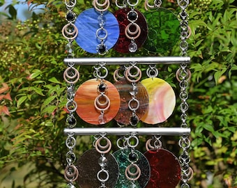 Unique Suncatcher - Kaleidoscope - Glass Circle Suncatcher - OOAK Gift Anniversary, Birthday, Wedding, Housewarming, Tropical Smoothie II