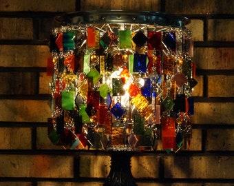 Decorative Glass Table Lamp - Home Decor - Glass & Wood Table Lamp - Eclectic Table Lamp - One Of A Kind Table Lamp - Jewel
