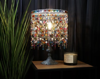 Decorative Glass Table Lamp - Home Decor - Glass & Wood Table Lamp - Eclectic Table Lamp - One Of A Kind Table Lamp - Gypsy