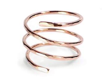 Spiral Ring - Rose Gold Fill Ring - Minimalist - Adjustable Ring - Custom - Spiral Jewelry - Triplet Ring - Made in Brooklyn - Andyshouse