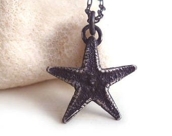Starfish Necklace - Oxidized - Sterling Silver - Tiny - Nature Inspired - Beach Jewelry - Rustic - Boho Chic - Organic - Starfish Jewelry