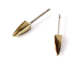 Square Spike Earrings - Brass Spikes - Small Spike Earrings - Industrial Studs - Andyshouse - Gifts Under 25 - Brass Studs - Made in BKLN