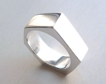 Industrial Nut Ring - Silver Nut Ring - Size 7 Ring - Industrial Ring - Asymmetrical Ring - Urban Ring - Mens RIng - Made In Brooklyn