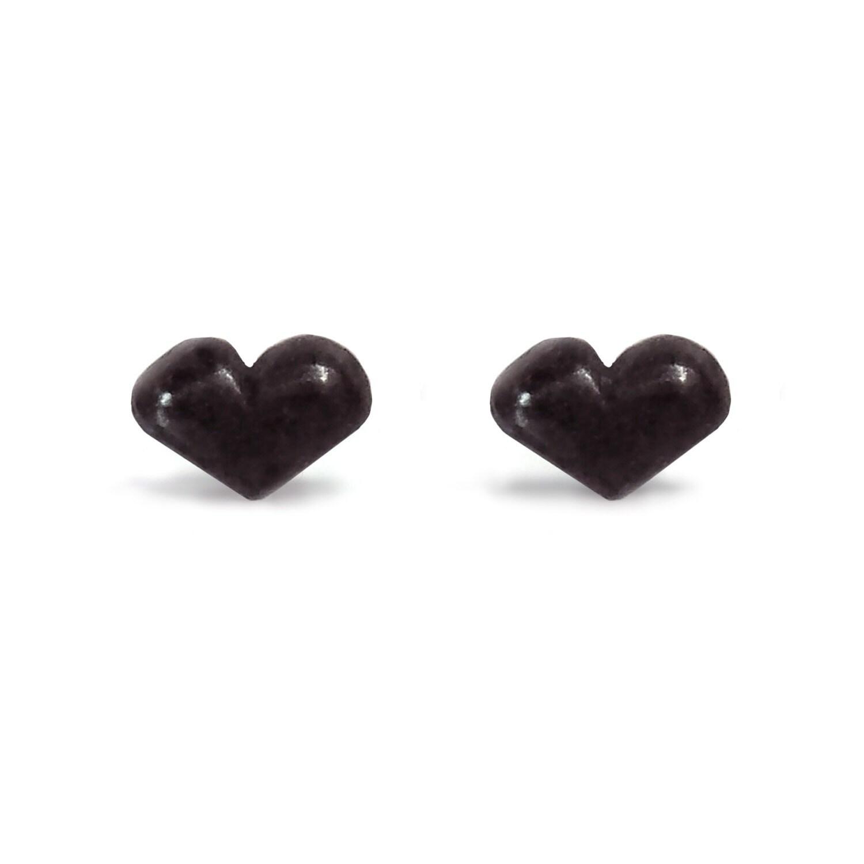 6ebc575a87c54 Black Heart Earrings - Oxidized - Sterling Silver - Handmade - Minimalist -  Sweet Heart - Heart Studs - Tiny Heart Earrings - Stud Earrings
