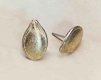 Brass Pumpkin Seed Earrings - Seed Earrings - Organic - Pumpkin Seed Jewelry - Fall Inspo - Fall Jewelry - Andyshouse - Made in Brooklyn
