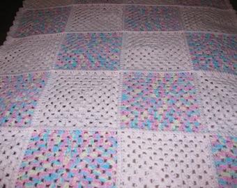 Pink granny square baby blanket