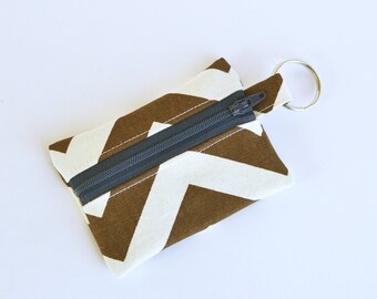 Zippered Pouch, Small Card Case, Brown Chevron