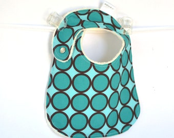 Turqouise Ring Dot Adjustable Baby Bib with Minky