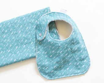 Baby Gift Set Bib and Burp Cloth Teal and White Arrows Adventure Springs
