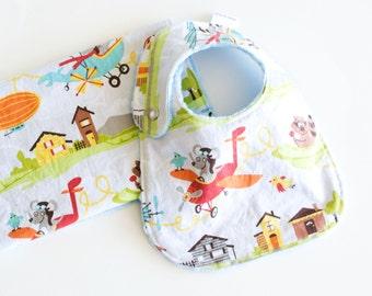 Baby Gift Set Bib and Burp Cloth Little Flyers