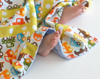 Baby Blanket, Small Patchwork for Baby Ready Set Go Cars (3) with Dusty Blue MInky