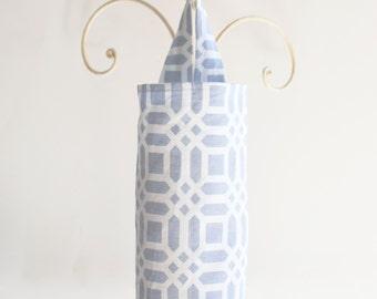 Fabric Plastic Grocery Bag Holder Grey Vivid Lattice