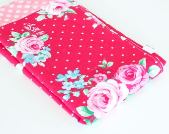 Patchwork Baby Girl Blanket, Vintage Inspired Roses Patchwork Blanket with Minky