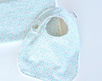 Baby Gift Set, Sea Stitch Petal with Minky Bib and Burp Cloth