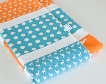 Baby Blanket, Small Patchwork with Minky for Baby Boy Deer Bird Polka Dot by MoMo