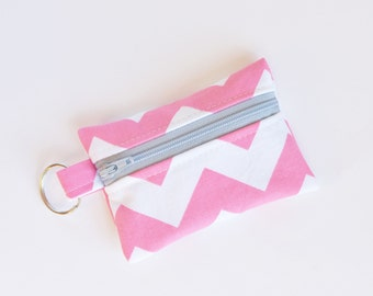 Small Zipper Pouch, Ear Bud Holder, Credit Card Case, Pink Chevron