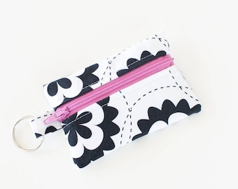 Ear Bud Case, Small Zipper Pouch, Black and White Flowers