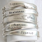 Silver Stamped ID Spoon Handle Word Bracelet With Magnetic Clasp by Girl Ran Away With the Spoon