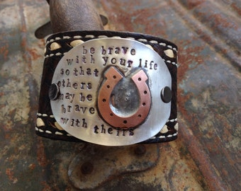 Be brave hand stamped and soldered mixed metal spoon cuff