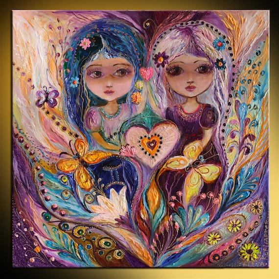 Original fantasy fairy art print of Zodiac Fairy series Gemini Gold  butterfly big eyes girl Wall art for children room decor from Israel