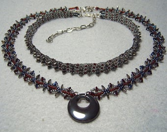 With Abandon - beadwoven choker and necklace set