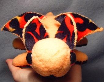 Orange Fire-Bellied Dragonlet, handmade dragon plush