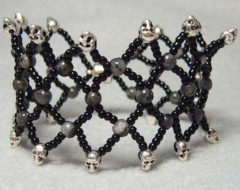 Black Humor - beadwoven bracelet