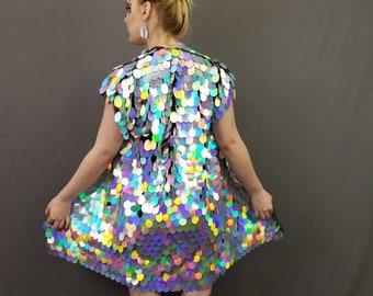 c6a4fc883d3ba Holographic Silver Rainbow Sequin Kimono | Plus Size Kimono | Rave Kimono |  Burning Man⎪ Short Sleeve ⎪ Sleeveless⎪Music Festival