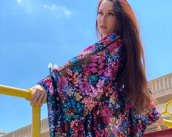 Lace Floral Sequin Bell Sleeve Kimono