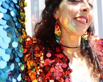 Circle Sequin Rainbow Earrings Pride Sequin Dangle Earrings