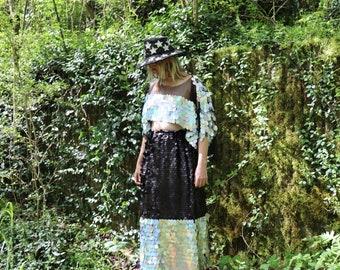 Full Slit Maxi Skirt - Holographic Silver and Matte Black Sequin - Festival Skirt