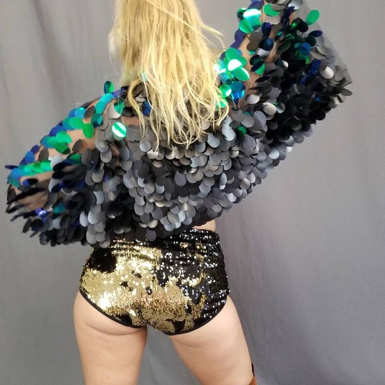 ddeaf608 Cropped Mermaid Sequin Bolero Shrug / Burning Man / Rave   Etsy