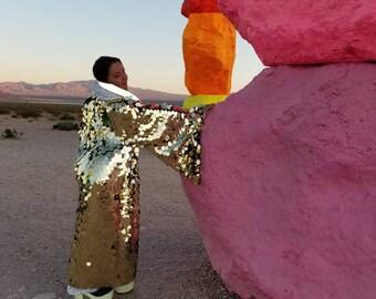 Gold Disco Ball Sequin Kimono   Rave Kimono   Burning Man⎪Bell Sleeve⎪Music Festival / Burlesque