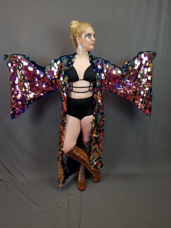 a045e9b5e Sequin Kimono Iridescent Paillette Sequin Mermaid Goddess | Etsy