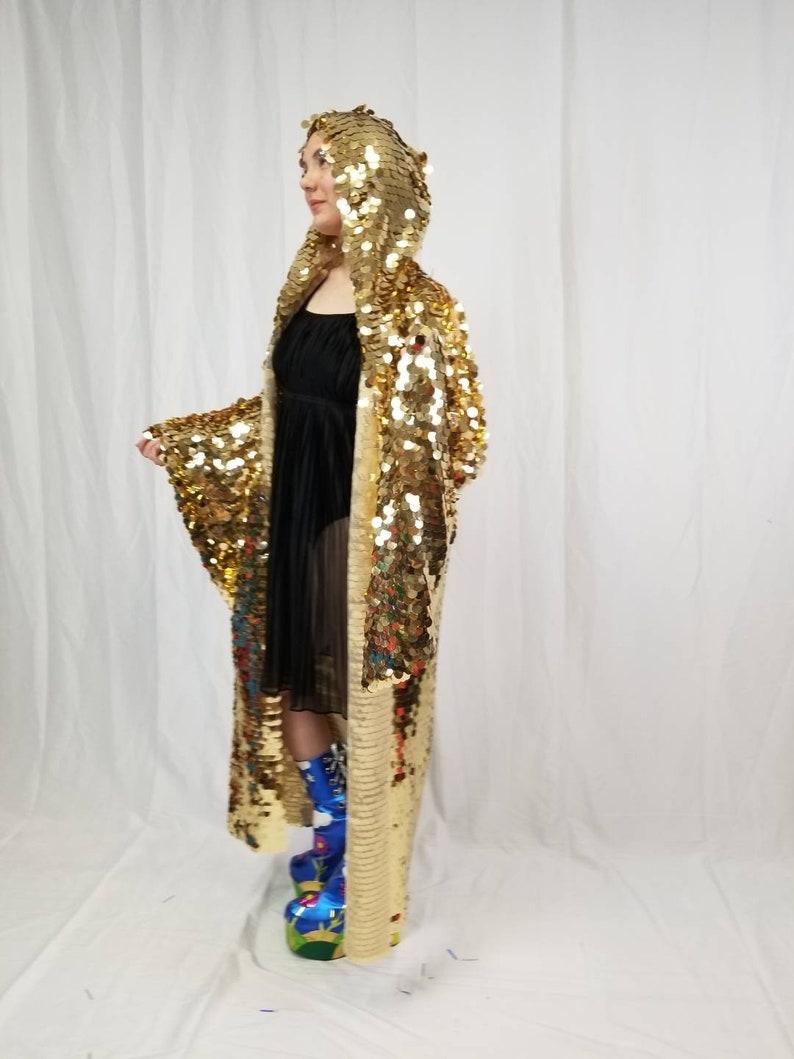 5ac1e664da6 Gold Sequin Kimono Plus Size Kimono Rave Kimono Burning | Etsy