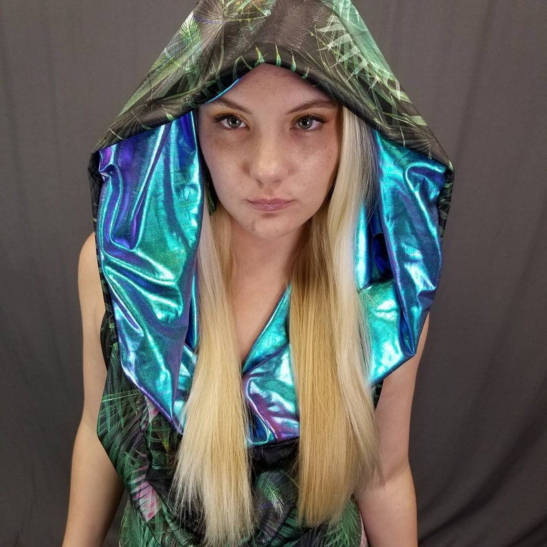 Iridescent Jungle Bodysuit  halter top  EDC outfit