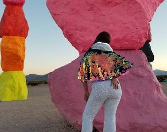 Cropped Mermaid Sequin Bolero Shrug  / Burning Man /  Rave Jacket / Plus Size
