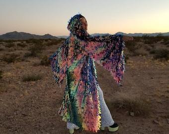 Fire Sequin Bell Sleeve Kimono / Festival Robe / Hooded Kimono / Maxi Length / Hood / Music Festival / Rave